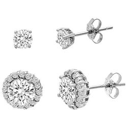 Lesa Michele 4mm Round & Halo Stud Earring Set