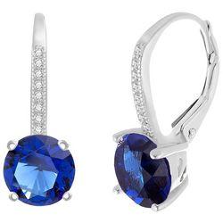 Lesa Michele Cubic Zirconia & Sapphire Blue Earrings