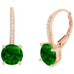 Lesa Michele Green Cubic Zirconia Dangle Earrings