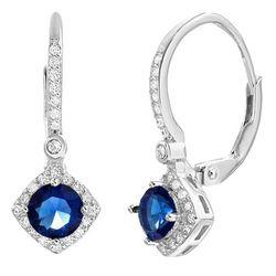 Lesa Michele Sapphire & Cubic Zirconia Earrings