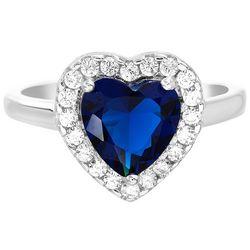 Lesa Michele Heart Sapphire & Cubic Zirconia Ring