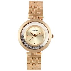 Ellen Tracy Womens Floating Rhinestones Rose Gold Tone Watch