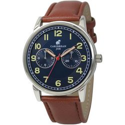 Caribbean Joe Mens Easy Read Blue Face Strap Watch