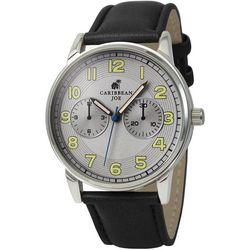 Caribbean Joe Mens Silver Tone & Black Strap Watch