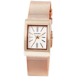 Ellen Tracy Womens Rose Gold Tone Rectangle Mesh Band Watch