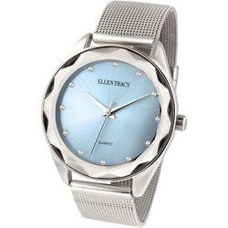 Ellen Tracy Womens Blue Face Silver Tone Mesh Watch