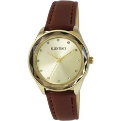 Ellen Tracy Womens Gold Tone Face Brown Strap Watch