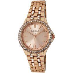 Ellen Tracy Womens Rhinestone Bezel Bracelet Watch