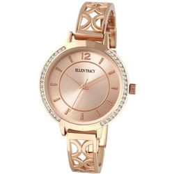 Ellen Tracy Womens Rose Gold Tone Filiigree Open Cuff Watch