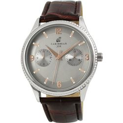 Caribbean Joe Mens Silver Tone Brown Strap Watch