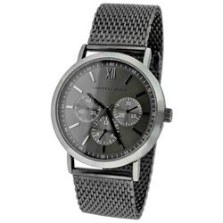 Geoffrey Beene Mens Gunmetal Mesh Band Watch