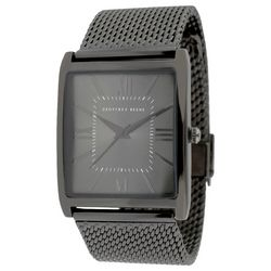 Geoffrey Beene Mens Gunmetal Grey Tone Mesh Band Watch