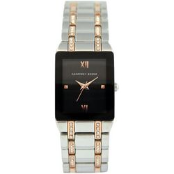 Geoffrey Beene Womens Rhinestones Two Tone Square Watch