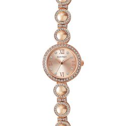 Ellen Tracy Womens Rose Gold Tone Embellished Circle Watch