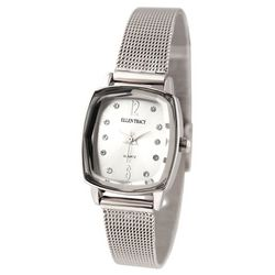Ellen Tracy Womens Silver Tone Rectangle Face Bracelet Watch