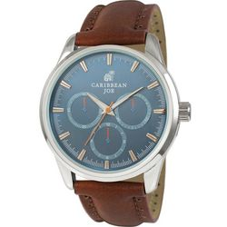 Caribbean Joe Mens Light Blue Face Brown Strap Watch