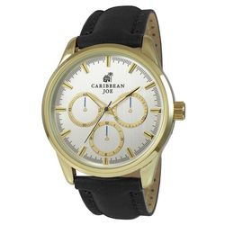 Caribbean Joe Mens Gold Tone Chrono Black Strap Watch