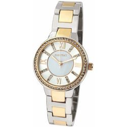 Ellen Tracy Womens Rhinestone Two Tone Watch