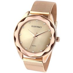 Ellen Tracy Womens Rose Gold Tone Mesh Band Watch