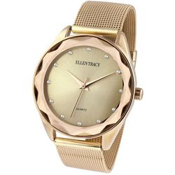 Ellen Tracy Womens Gold Tone Mesh Band Watch