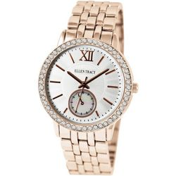 Ellen Tracy Womens Rose Gold Tone Rhinestone Watch