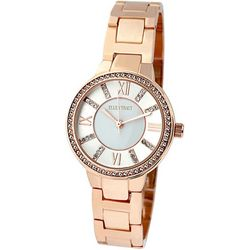 Ellen Tracy Womens Rose Gold Tone Bracelet Watch