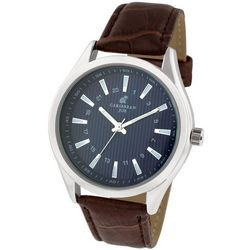 Caribbean Joe Mens Blue & Brown Strap Watch