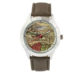 Caribbean Joe Mens Map Dial Strap Watch