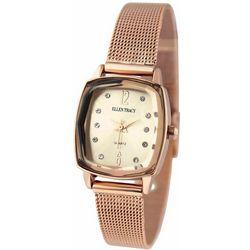 Ellen Tracy Womens Rose Gold Tone Rectangle Bracelet Watch