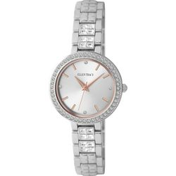 Ellen Tracy Womens Two Tone Square Rhinestones Watch