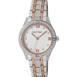 Ellen Tracy Womens Rhinestone Accented Two Tone Watch
