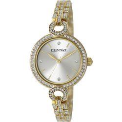 Ellen Tracy Womens Gold Tone Rhinestone Circular Watch