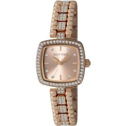 Ellen Tracy Womens Rose Gold Tone Square Dial Watch