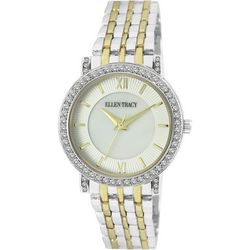 Ellen Tracy Womens Two Tone Rhinestone MOP Face Watch