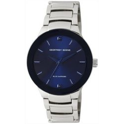 Geoffrey Beene Mens Silver Tone & Blue Face Watch