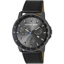 Geoffrey Beene Mens All Black Strap Watch