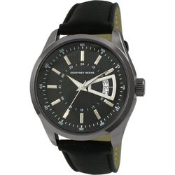 Geoffrey Beene Mens Black & Silver Tone Strap Watch