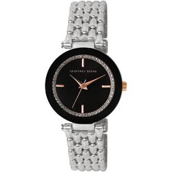 Geoffrey Beene Womens Silver Tone & Black Round Face Watch