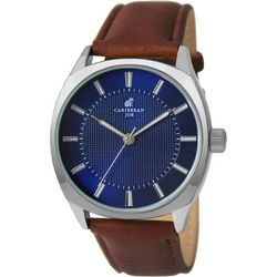 Caribbean Joe Mens Blue Dial & Brown Strap Watch