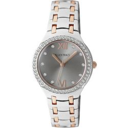 Ellen Tracy Womens Silver Tone & Rose Gold Tone Accent Watch