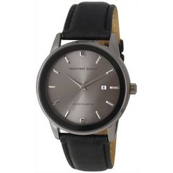 Geoffrey Beene Mens Black Diamond Chips Strap Watch