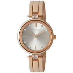 Geoffrey Beene Womens Rose Gold Rhinestone Watch