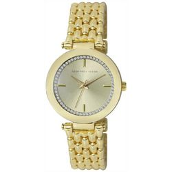 Geoffrey Beene Womens Gold Tone Rhinestone Watch