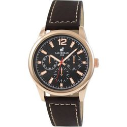 Caribbean Joe Mens Black & Rose Gold Tone Brown Strap Watch