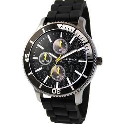 Caribbean Joe Mens Anchor Black Rubber Band Watch