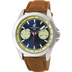 Caribbean Joe Mens Brown Strap Watch