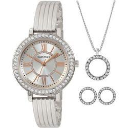 Ellen Tracy Rhinestone Circle Pendant Necklace & Watch Set