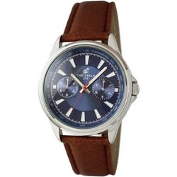Caribbean Joe Mens Blue Face Brown Strap Watch