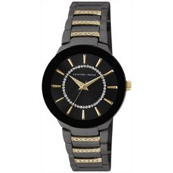 Geoffrey Beene Womens Black Rhinestone Watch