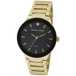 Geoffrey Beene Mens Gold Tone & Black Watch